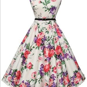 Grace Karin white and multicolored floral dress